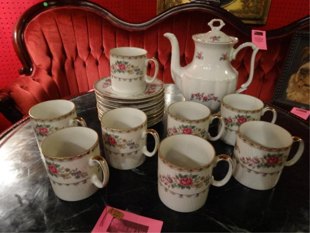 17 PC COFFEE SET, INCLUDES COFFEEPOT, 8 CUPS AND 8