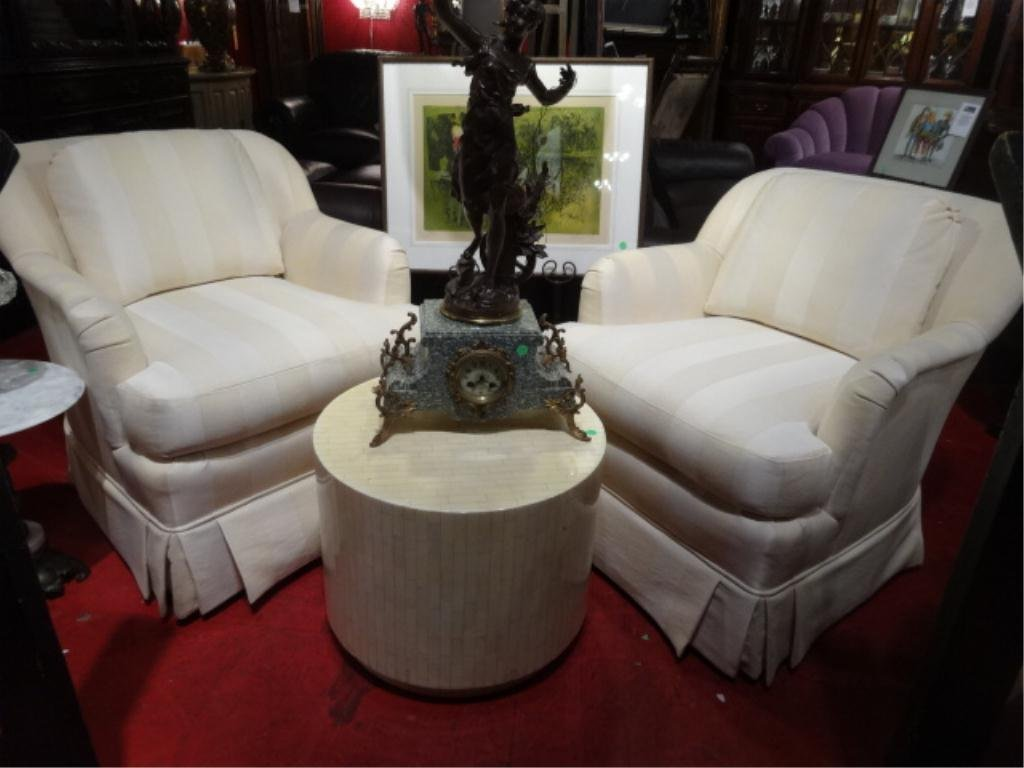 PAIR THOMASVILLE ARMCHAIRS, SKIRTED BASES, IVORY AND