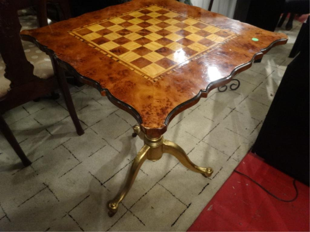 CHESS TABLE WITH WOOD TOP, MOUNTED TO GOLD FINISH METAL