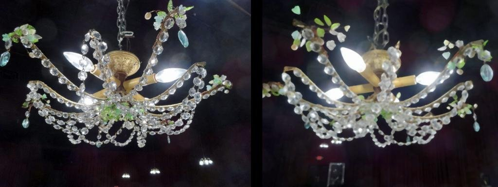PAIR CRYSTAL CHANDELIERS, GREEN AND CLEAR GLASS LEAVES,