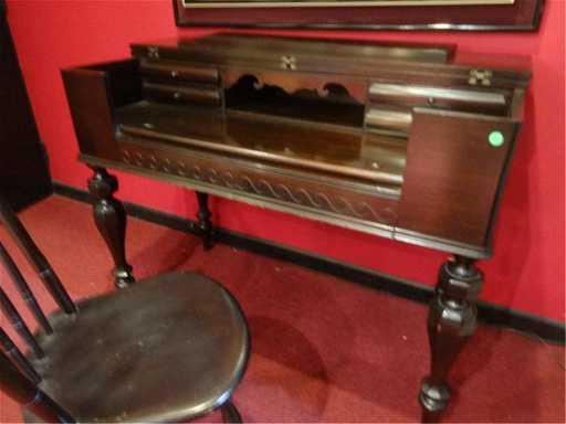 - ANTIQUE MAHOGANY SPINET SECRETARY/DESK, PIANO HINGE TOP