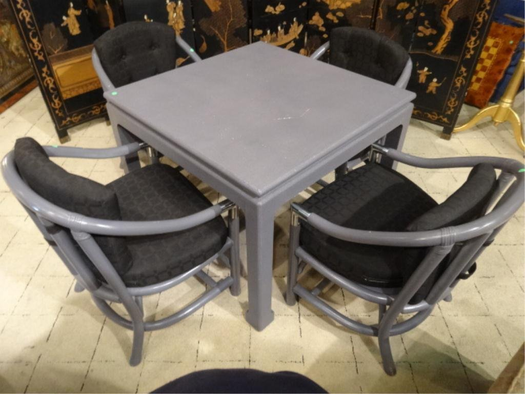 KARL SPRINGER STYLE LACQUERED LINEN TABLE, DOVE GRAY,