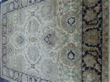 LARGE WOOL RUG, PERSIAN STYLE, CREAM, TAUPE, BLUE, AND