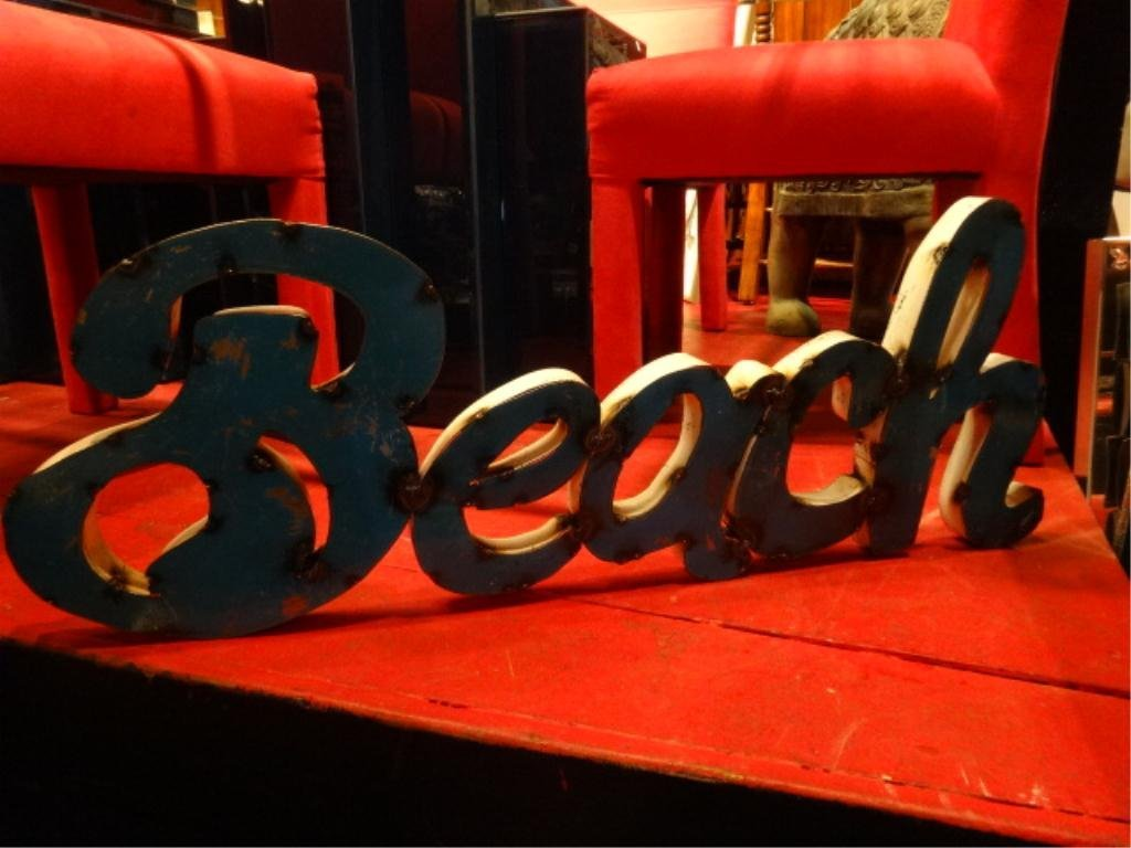 """ARCHITECTURAL SIGN """"BEACH"""", APPROX 13"""" X 35"""", SKU5268"""