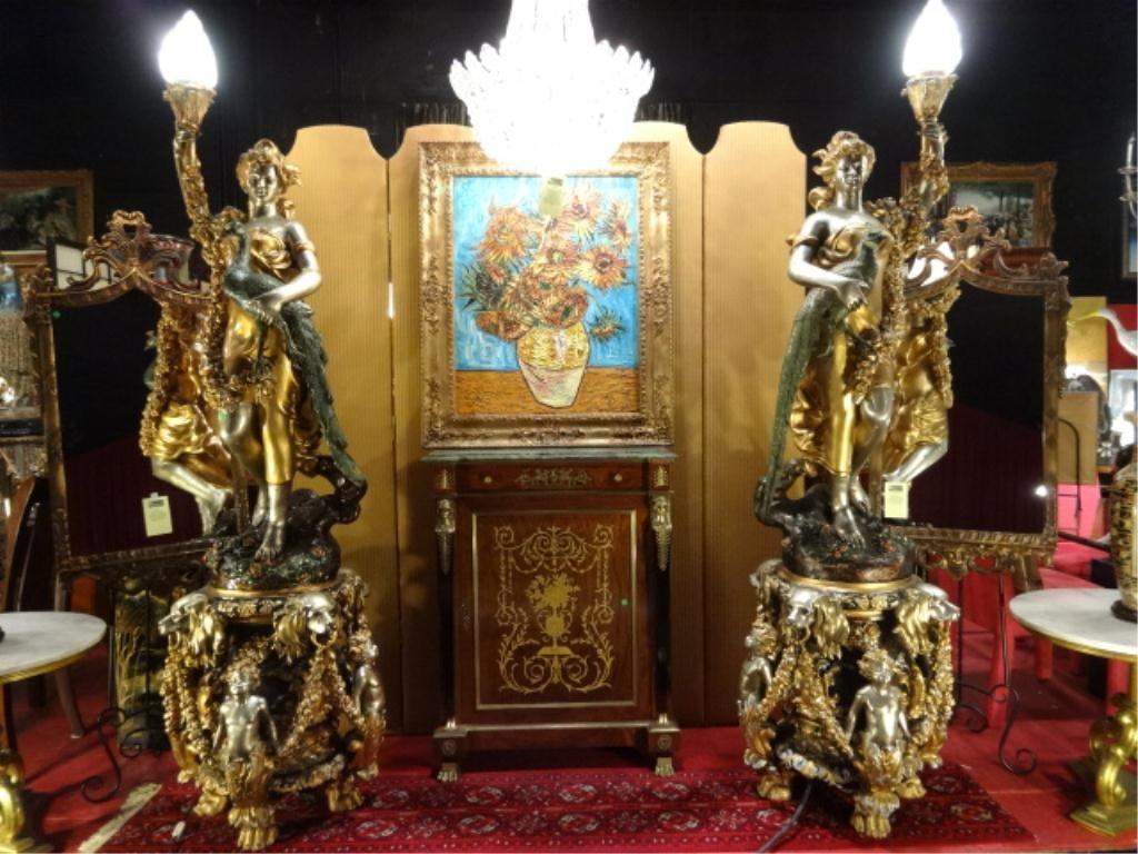 PAIR MONUMENTAL BRONZE TORCHIERE LAMPS, GOLD AND SILVER
