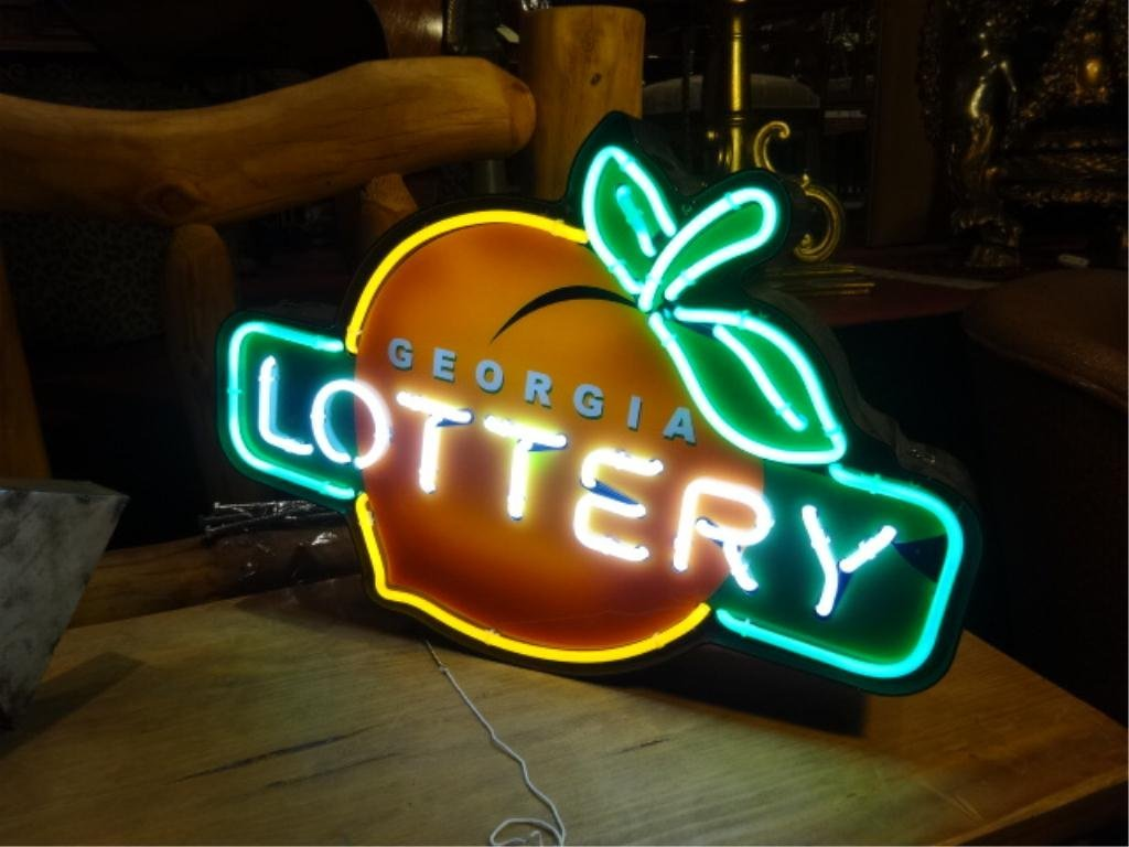 NEON GEORGIA LOTTERY SIGN, WITH PEACH LOGO, APPROX