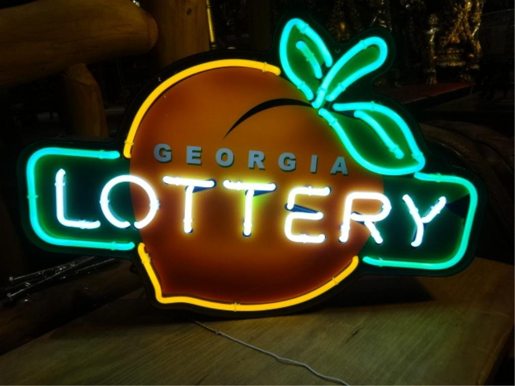 NEON GEORGIA LOTTERY SIGN, WITH PEACH LOGO, APPROX - 2