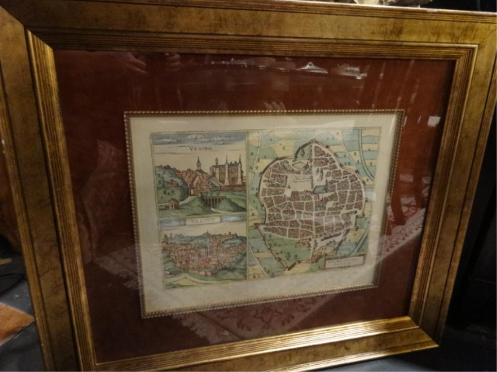 """ANTIQUE STYLE MAP OF URBINO, ITALY, APPROX 30.5"""" X"""