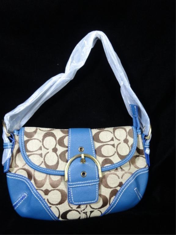COACH SIGNATURE DEMI POUCH BAG, NEVER USED, WITH BLUE