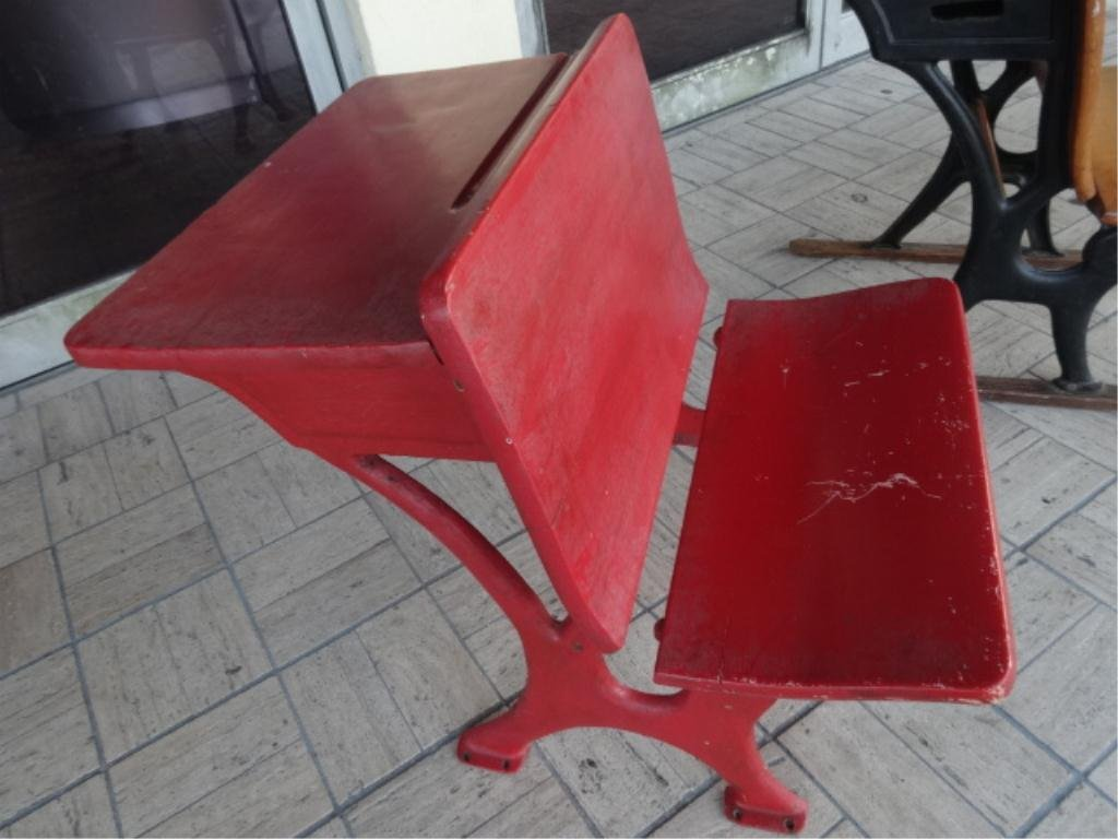 VINTAGE WOOD SCHOOL DESK FOLDING CHAIR, RED PAINTED