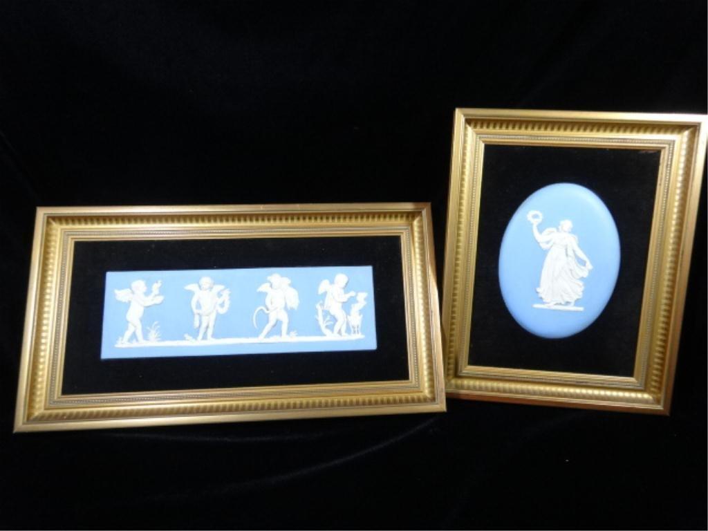 2 FRAMED WEDGWOOD BLUE JASPERWARE PLAQUES