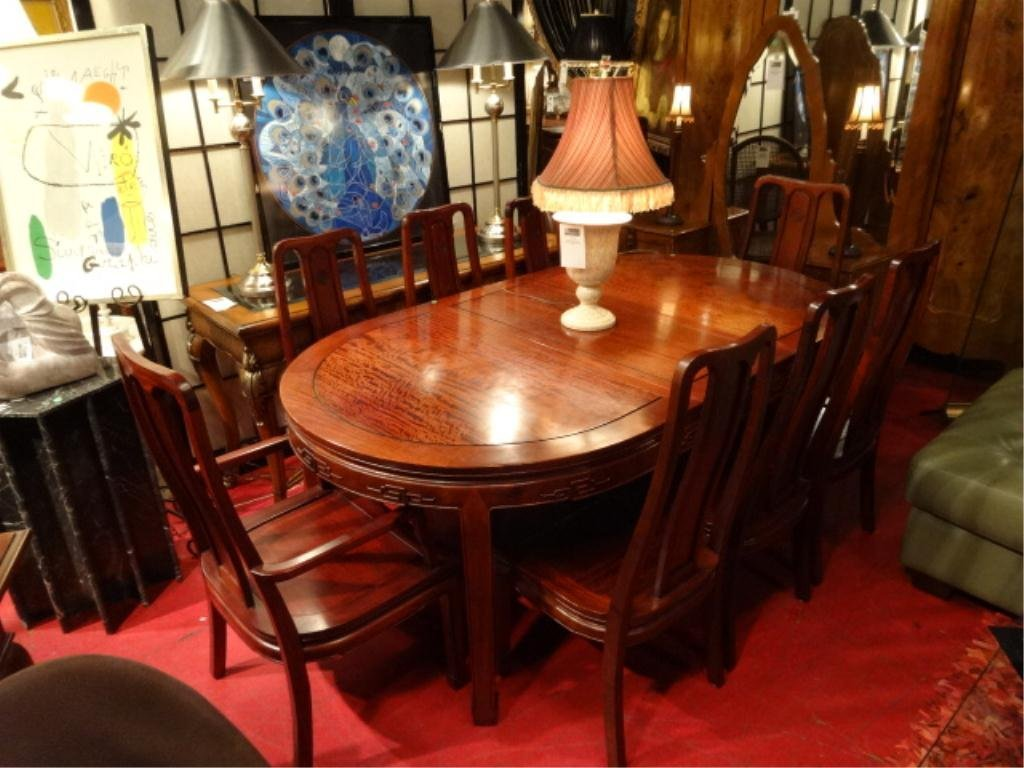 CHINESE ROSEWOOD DINING TABLE, 8 CHAIRS (2 ARMCHAIRS, 6
