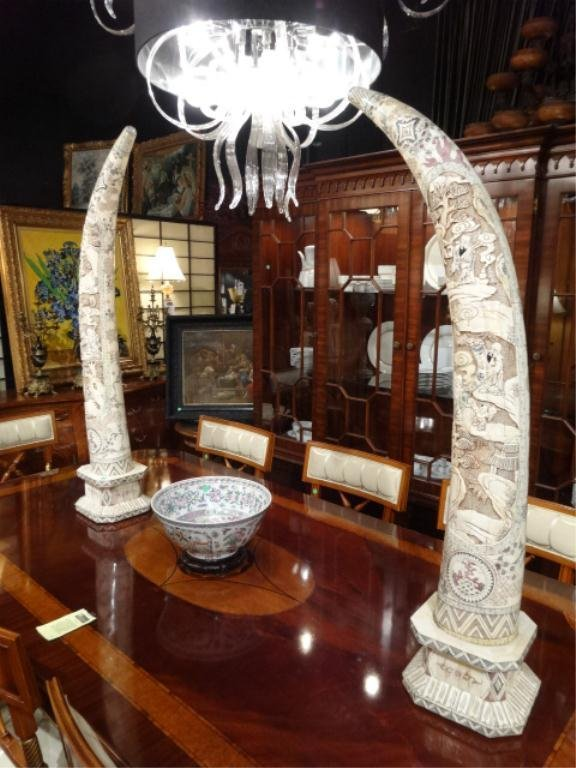 PAIR LARGE CHINESE CARVED BONE TUSKS, INTRICATE CARVED