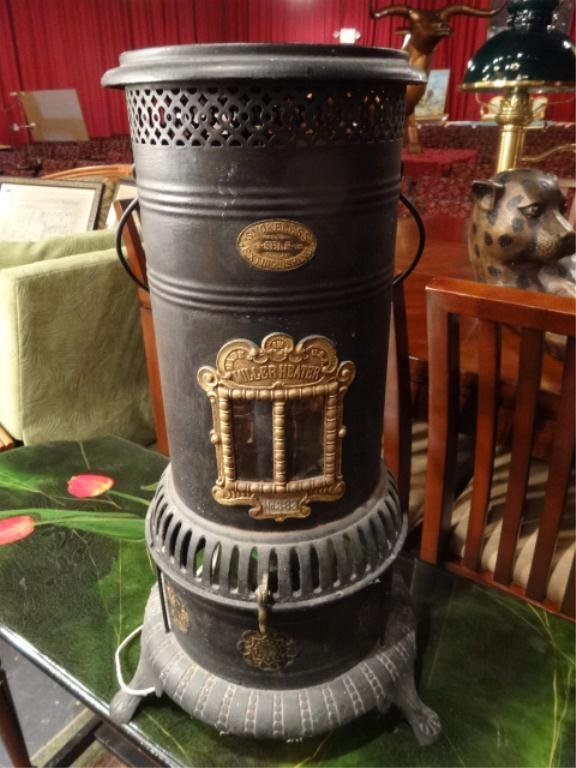 ANTIQUE MILLER OIL HEATER, CONVERTED TO ELECTRIC LAMP,