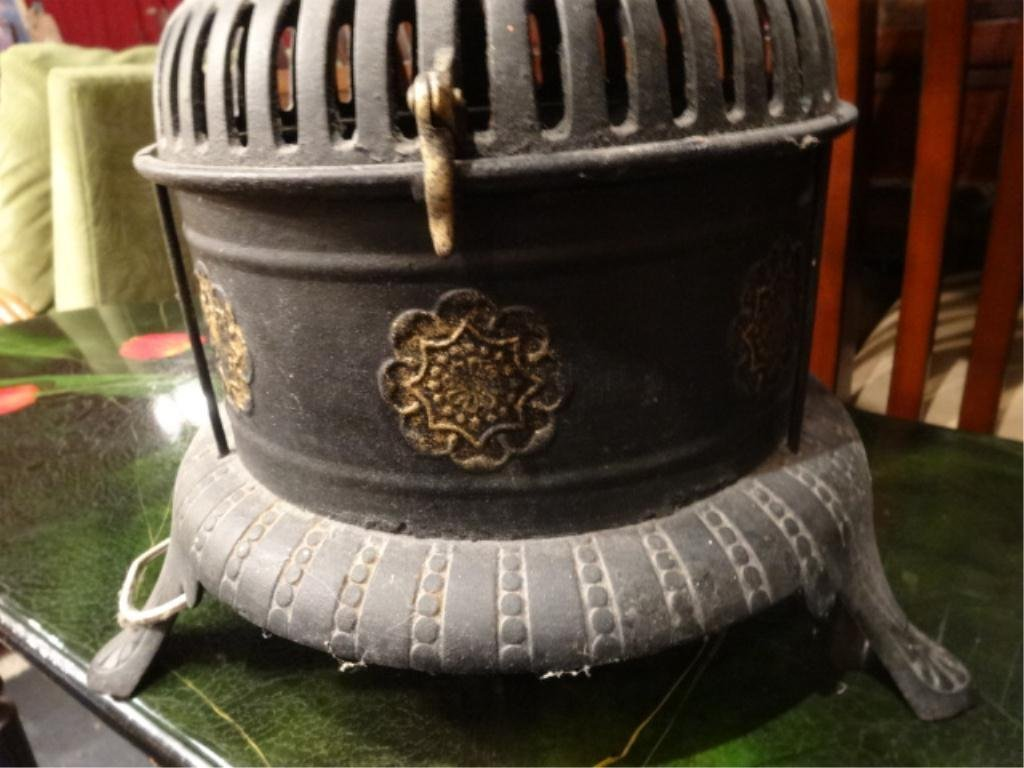 ANTIQUE MILLER OIL HEATER, CONVERTED TO ELECTRIC LAMP, - 4