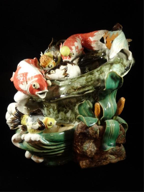 CERAMIC FOUNTAIN, EXOTIC GOLDFISH DESIGN, SOME CHIPS TO