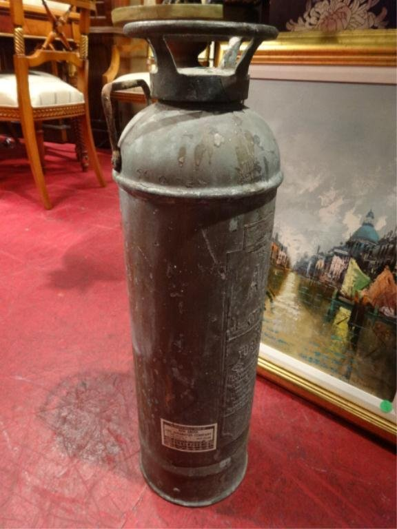 VINTAGE ALBERT FIRE EXTINGUISHER, WITH PAPER INSPECTION