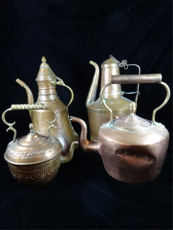 4 PC COPPER PITCHER GROUP, OVERALL VERY GOOD CONDITION,