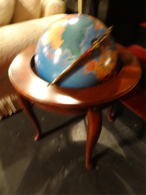 """LIGHTED GLOBE ON WOOD STAND, APPROX 31""""H, SKU265.07"""