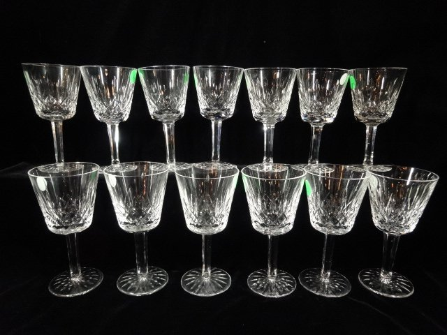 """13 WATERFORD CRYSTAL """"LISMORE"""" WINE GLASSES, APPROX"""