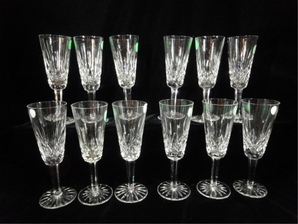 """12 WATERFORD CRYSTAL """"LISMORE"""" CHAMPAGNE GLASSES,"""