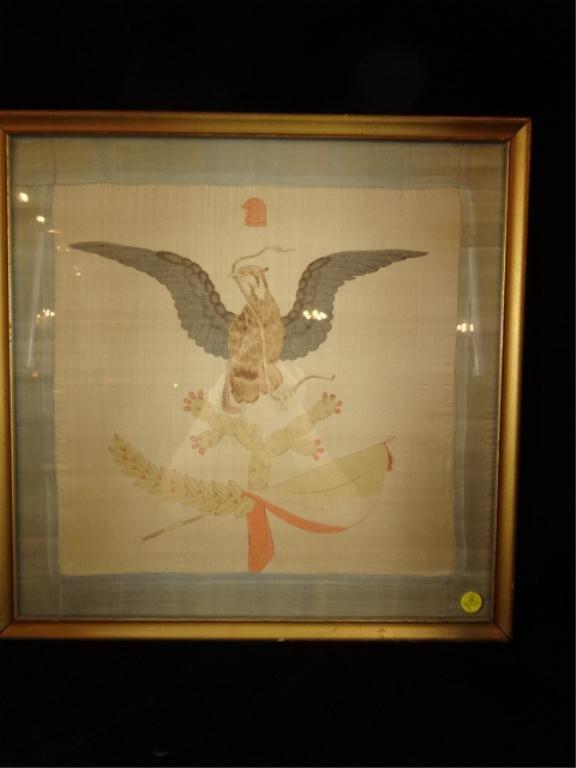 ANTIQUE HANDPAINTED HANDKERCHIEF, CIRCA 1833-1855,