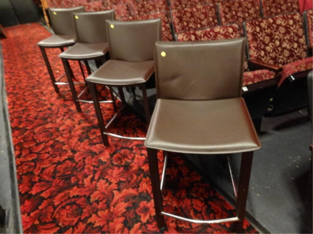 4 MODERN BROWN LEATHER BARSTOOLS, COUNTER HEIGHT, WITH
