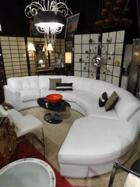 WHITE LEATHER CIRCULAR SOFA BY ELITE, 3 PIECE