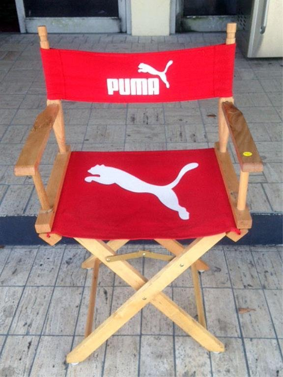 3 PC GROUP PUMA LOGO - FOLDING RED DIRECTOR'S CHAIR & 2
