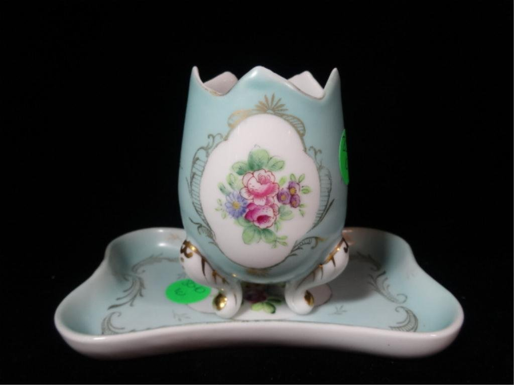 2 PC PORCELAIN EGG CUP & PLATE, MARKED PARISIENNE 5135