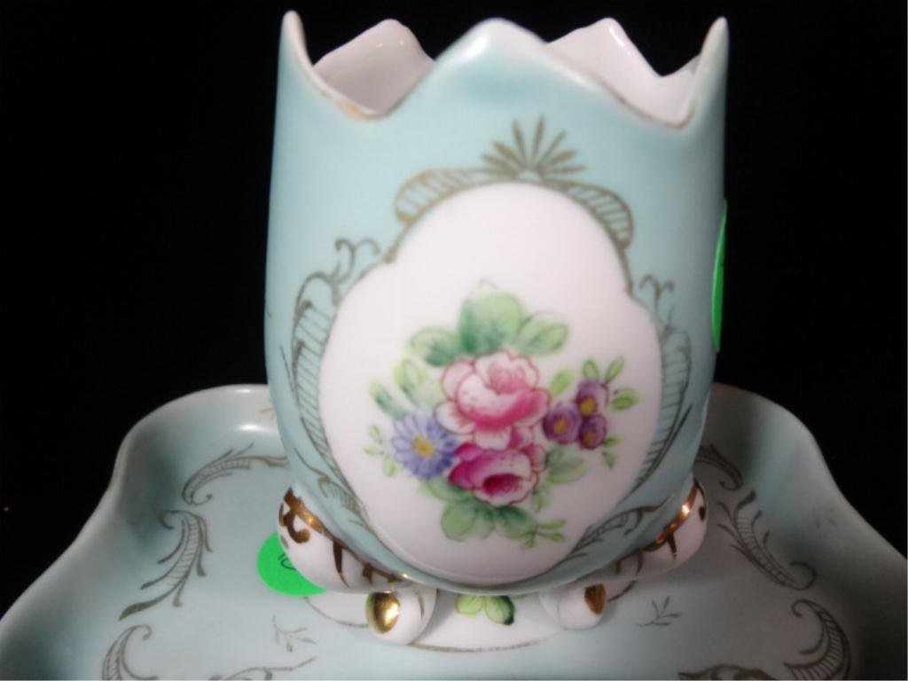 2 PC PORCELAIN EGG CUP & PLATE, MARKED PARISIENNE 5135 - 2