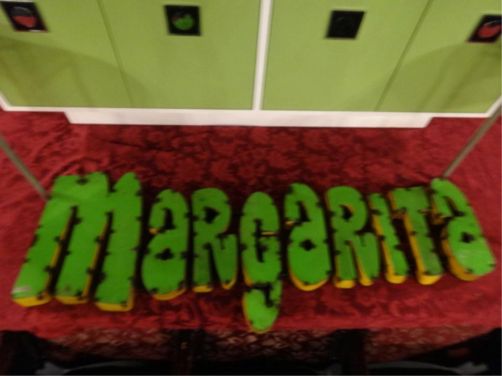 "LARGE METAL SIGN, MARGARITA, APPROX 46.75""L X 17""H,"