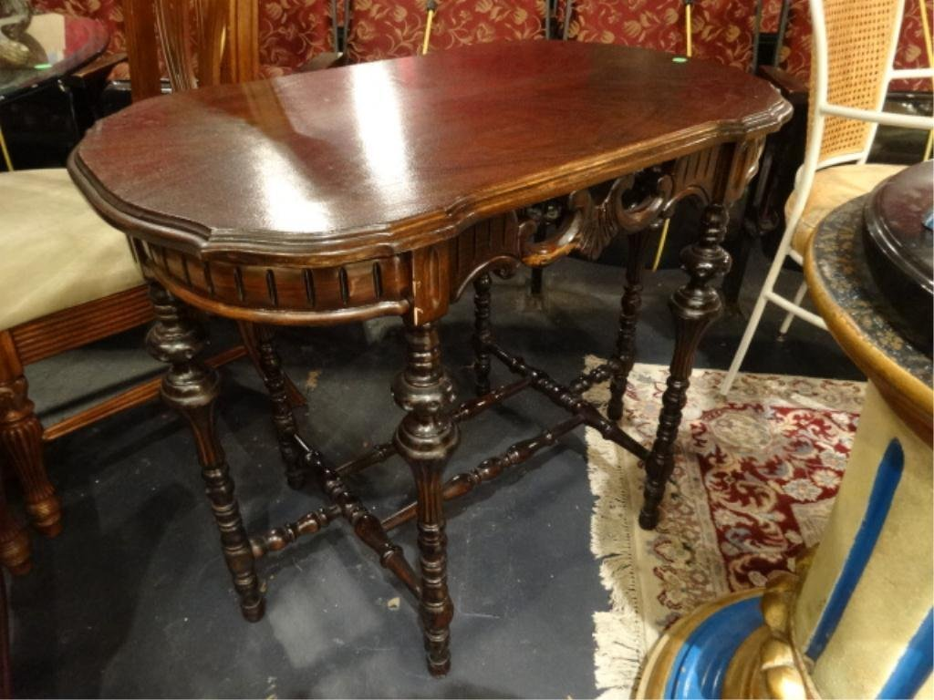 ANTIQUE OVAL 6 LEGGED TABLE, DARK FINISH, CARVED APRON,