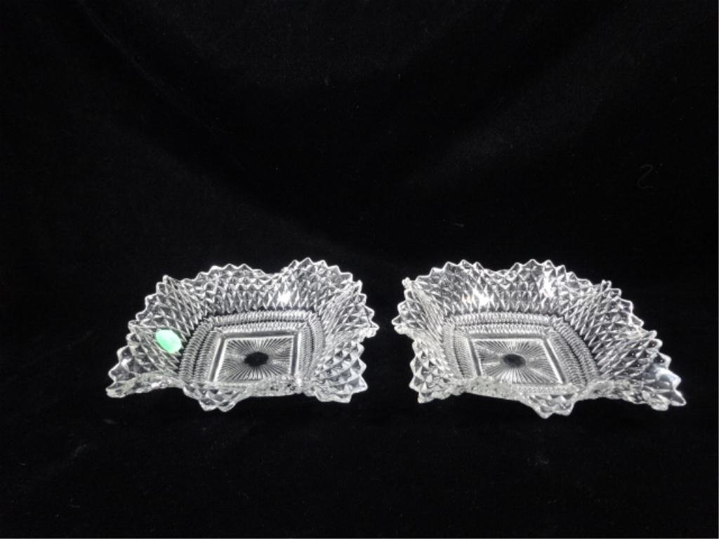 "2 VINTAGE SQUARE CRYSTAL DISHES, APPROX 6.25"" ACROSS,"