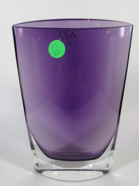 LSA CRYSTAL VASE, PURPLE, HANDCRAFTED & MOUTHBLOWN IN