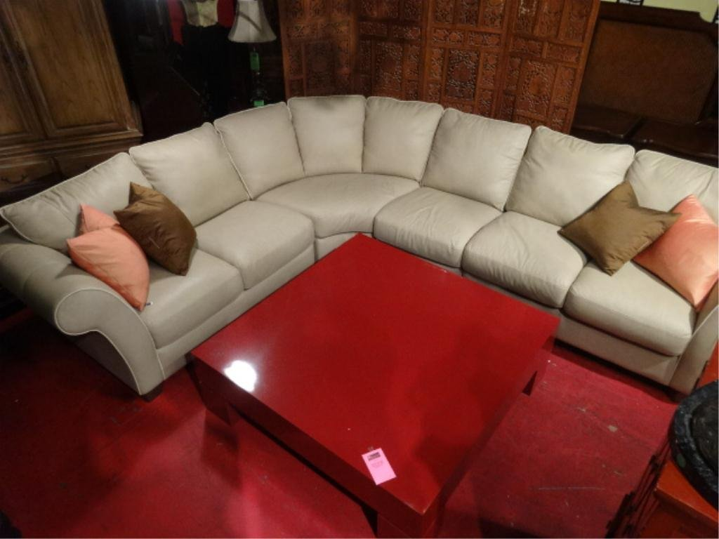 ITALSOFA BEIGE LEATHER SECTIONAL SOFA WITH CREAM : italsofa leather sectional - Sectionals, Sofas & Couches