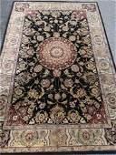 LARGE PERSIAN STYLE RUG, WOOL/SILK BLEND, BLACK, CREAM,