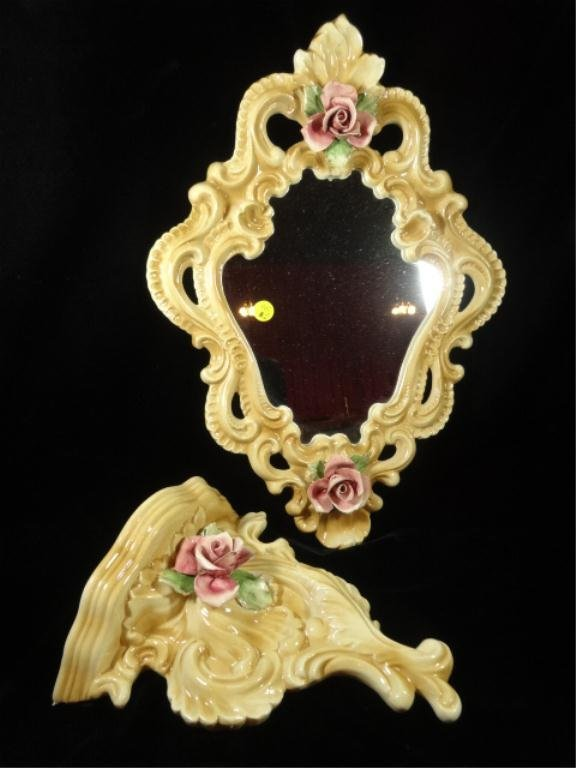 PC CAPODIMONTE PORCELAIN MIRROR & WALL SHELF SCONCE,