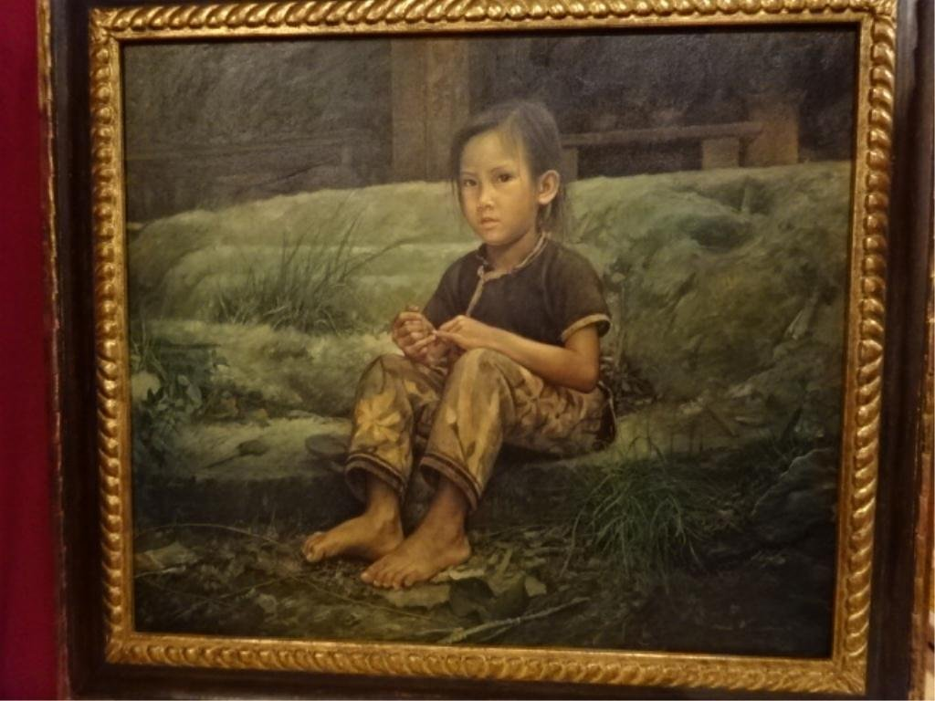 """WAI MING (LO HING KWOK) OIL ON CANVAS, """"THE FISHGIRL IS"""