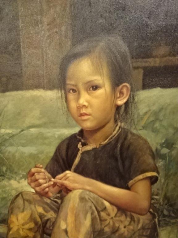 """WAI MING (LO HING KWOK) OIL ON CANVAS, """"THE FISHGIRL IS - 3"""