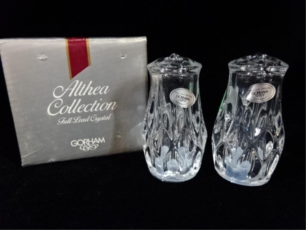 """GORHAM CRYSTAL SALT & PEPPER SHAKERS, APPROX 3""""H, WITH"""