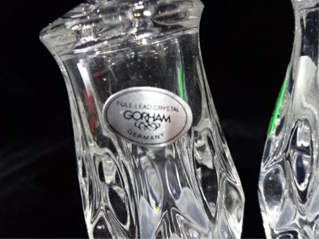 """GORHAM CRYSTAL SALT & PEPPER SHAKERS, APPROX 3""""H, WITH - 3"""