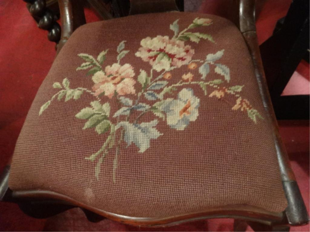 ANTIQUE WOOD CHAIR, CARVED WOOD SEAT BACK, EMBROIDERED - 3