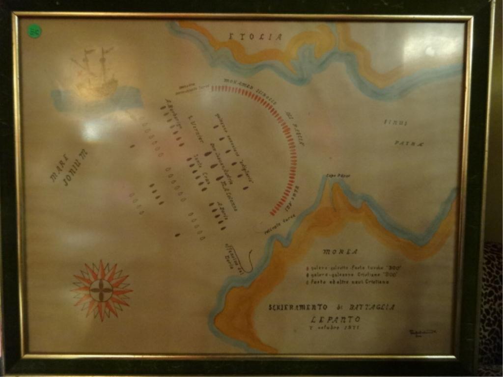 ANTIQUE MARITIME BATTLE MAP, BATTLE OF LEPANTO,