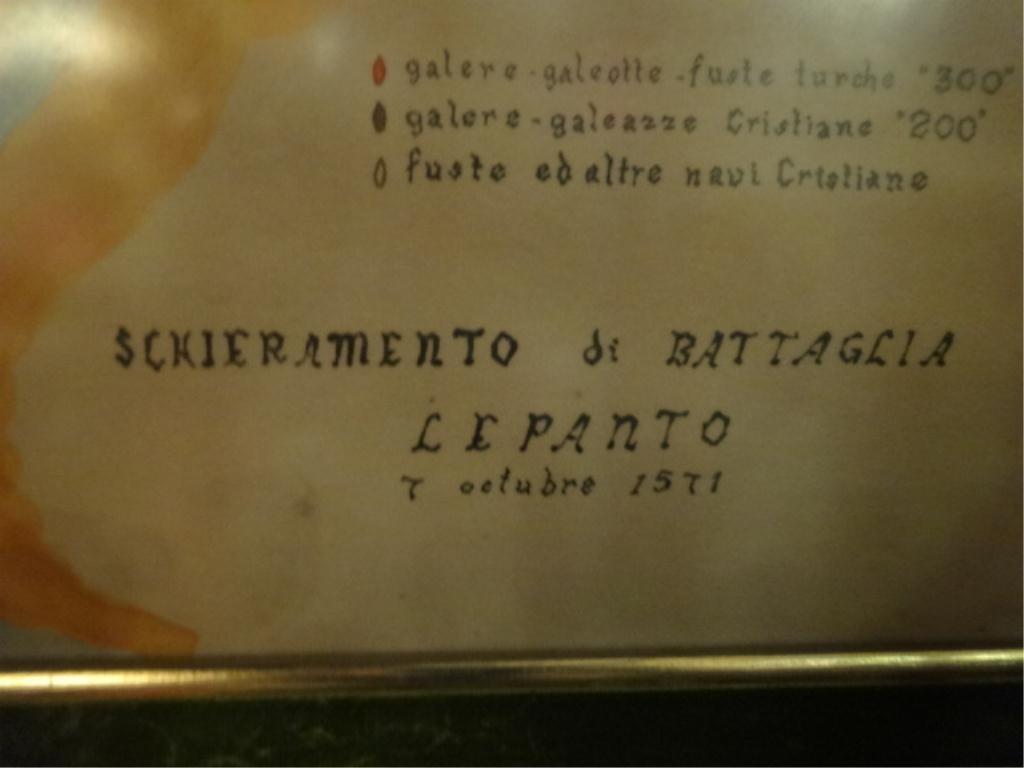 ANTIQUE MARITIME BATTLE MAP, BATTLE OF LEPANTO, - 2