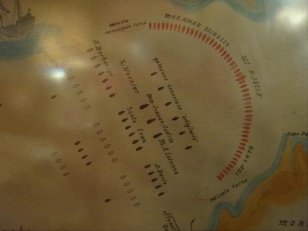 ANTIQUE MARITIME BATTLE MAP, BATTLE OF LEPANTO, - 4