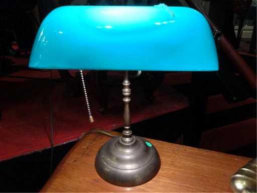 - ANTIQUE BRASS BANKER'S DESK LAMP, GREEN GLASS SHADE,