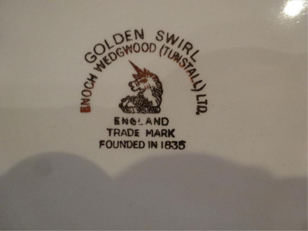 34 PC ENOCH WEDGWOOD (TUNSTALL) GOLDEN SWIRL CHINA - 4