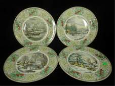 4 ADAMS CHINA N CURRIER WINTER SCENES PLATES INCLUDES