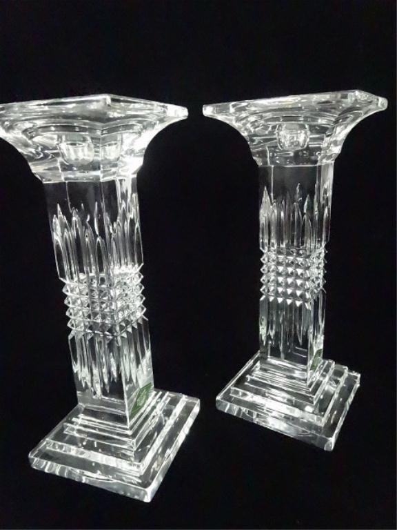 """PAIR SHANNON CRYSTAL CANDLESTICKS, APPROX 9""""H, - 4"""